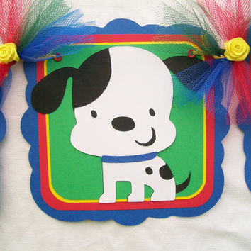Dalmatian puppy baby shower banner, primary colors, its a boy - READY TO SHIP