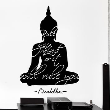 Vinyl Wall Decal Budhha Buddhist Quote Rule Your Mind Meditation Decor Unique Gift z4492