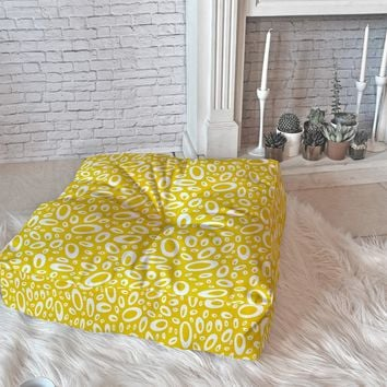 Heather Dutton Molecular Yellow Floor Pillow Square