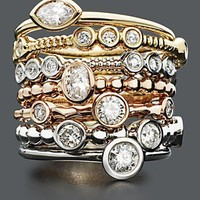 Diamond Rings, 14k Gold, 14k White Gold and 14k Rose Gold Stackable Diamond (1/5 ct. t.w.) - Rings - Jewelry & Watches - Macy's