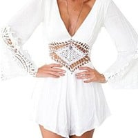 Women's Deep-v-neck -Chiffon Crochet Romper Backless Jumpsuit Playsuit Shorts