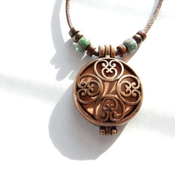 Aromatherapy Necklace, Essential Oil Diffuser Locket, Copper Boho Earthy Jewelry