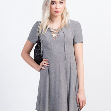 Lace Up Flared Tee Dress