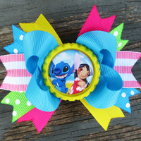 Lilo and Stitch hair bow disney bottle cap double by JaybeePepper