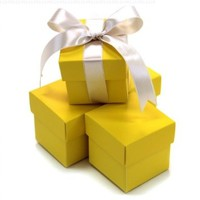 Koyal 2-Piece 10-Pack Square Favor Boxes, Yellow