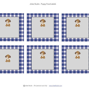 Gingham Puppy Birthday Party Food Labels/Food Tents: INSTANT DOWNLOAD