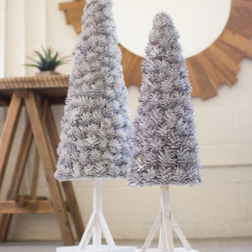 Set of 2 Whitewash Pine Cone Topiaries with Wooden Base
