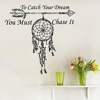 Wall Decals Quote To Catch Your Dream Vinyl Sticker Amulets Feather Arrow Boho Bedding Dream Catcher Decal Home Decor Bedroom Bohemian Stiskers Interior Design Art Mural MS760