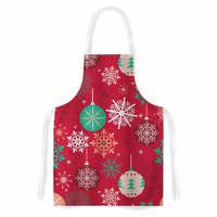 """julia grifol """"Christmas Balls"""" Red Green Pattern Holiday Vector Artistic Apron"""