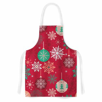 "julia grifol ""Christmas Balls"" Red Green Pattern Holiday Vector Artistic Apron"