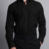 Men's Slim Fit Solid Color Dress Shirt (Black)