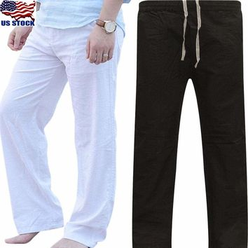 Men's Casual Loose Linen Waist Trousers Beach Pants Summer Yoga Long Slacks US