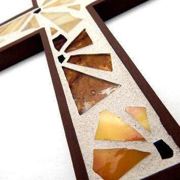 Mosaic Wall Cross,  Shades of Brown Funky Floral Handmade Stained Glass Mosaic Design