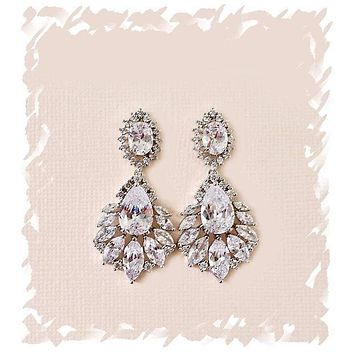 Simulated Diamond Bridal Earrings Dangle with Cubic Zirconia Marquise Leaf