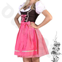 Dirndl Dress Pink, Ethnic 3 Piece Oktoberfest Bavarian Trachten. Austrian, German Folk Outfit - Festival Costume With Apron and Blouse
