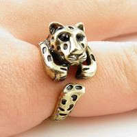 Leopard Animal Wrap Ring - GOLD - Size 9