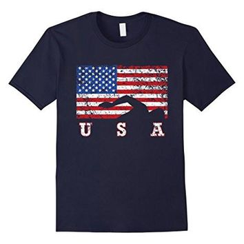American Flag Swimming T Shirt, Usa Gift, Swim Team