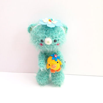 Amigurumi Bear Amigurumi Chick Crochet Bear Crochet Chick Mint Green Bear Crochet Doll Plush Stuffed Toy Bear Kawaii Bear Gift Ideas