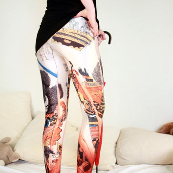 JAPANESE SAMURAI LEGGINGS/ Fitness Leggings Sexy Funky Yoga Pants Bottoms/Stretchy Leggings/Suspender Leggings Sports Pants Tights dx 147