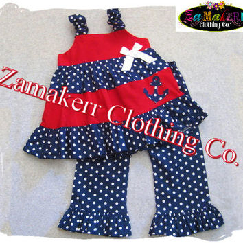 Custom Boutique Clothing Girl ANCHOR Outfit Pant Set 4th of July Fourth Navy Pageant Birthday 3 6 9 12 18 24 month size 2t 2 3t 4t  5t 6 7 8