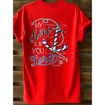 Sassy Frass My Hope is in You Lord Anchor Christian Bright Girlie T Shirt