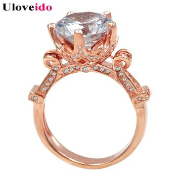 40% Off Uloveido Cubic Zirconia Love Rose Flower Crown Ring Big Crystal Female Bijouterie Women's Rings Gifts Anel Jewelry Y127