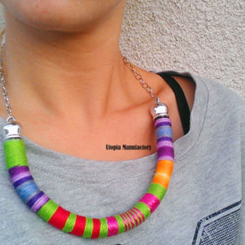 Imani, Necklace, Colorful Necklace, Thread Wrapped Necklace, African Necklace, Boho Necklace, Choker, African Jewelry, Thread Necklace, Gift