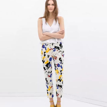 White Paint Brush Print Pencil Pants with Pocket