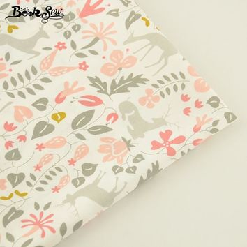 Booksew Flower And Sika Deer Pattern 100% Cotton Twill Fabric Home Textile Quilting Tilda For Bedding Baby Craft Needlework