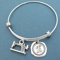 Personalized, Letter, Initial, Sewing machine, Silver, Bangle, Bracelet, Sewing, Machine, Jewelry, Birthday, Friends, Gift, Jewelry