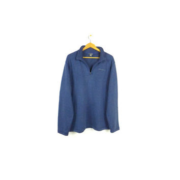 EDDIE BAUER fleece / quarter zip sweater / sweater / blue / mens XL