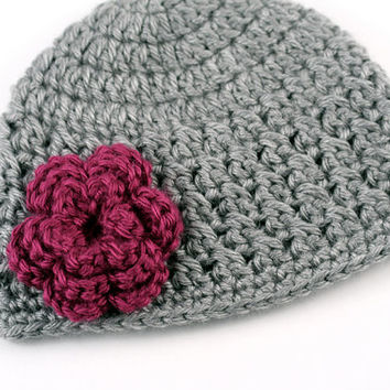 Textured Crochet Baby Hat // Gray with Magenta Flower // 3 to 6 Months // Baby Girl Beanie