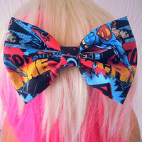 Superman Hair Bow / Comic bow / Clark Kent / Man of Steel / DC comics / Super man hair bow / superman fabric bow / superman hair accessory