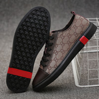 GUCCI Fashion New More Letter Print Men Splice Casual Leather Shoes Brown