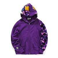 BAPE Solid Color Camo Hoodie Purple