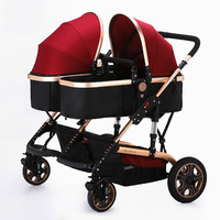2016 Hot Twin Baby Stroller Widen Seat Pushchairs High Landscape Folding Twin Stroller Sunshade Shockproof Baby Pram Twins C01