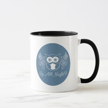 Up All Night? Retro Owl and Roses Personalized Mug