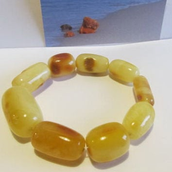 100% Natural #Antique #Vintage #Baltic #Amber  #Bracelet, 26.0 grams #olive #yellow egg yolk butterscotch  polished  opaque  for adult