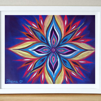 Colourful Wall Decor, Blue Purple Red Yellow Mandala Art - High quality Print, Modern Art