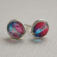 Red and blue stud earrings nickel free and by collscreations