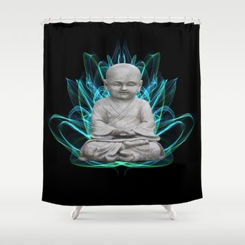 Lotus Meditating Buddha  Shower Curtain by Gracy Dreamscape
