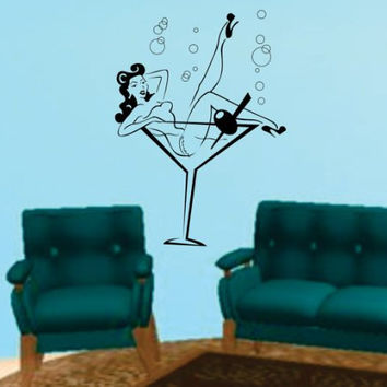 Rockabilly Martini Glass Pin Up Girl Wall Vinyl Decal Sticker Art Graphic Version 102