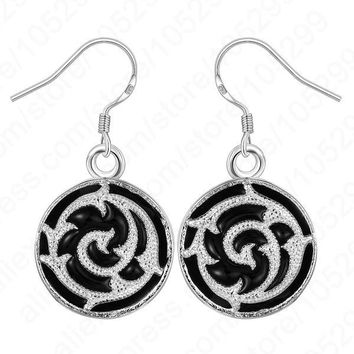 Promotions! Chinese Style Enamel Painting 925 Sterling Silver Round Dangle Hook Woman Jewelry Earring 1 Pair Retail Free Ship