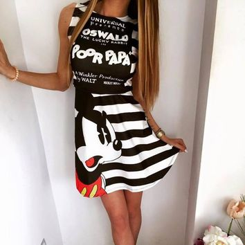 Mickey  mouse pattern print casual o-neck sleeveless striped letters printed dress