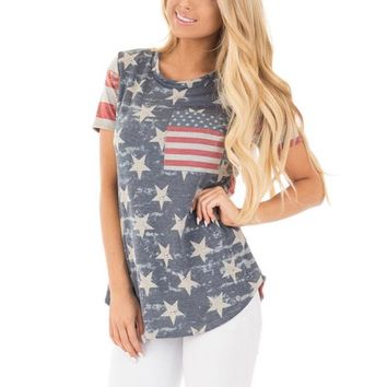 2017 Summer New T-shirt Women Casual Lady Top Tees Cotton Tshirt Female Brand Clothing T Shirt Printed American Flag Top Tee W1