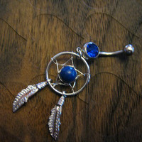 Dream Catcher Belly Button Ring -- Sapphire