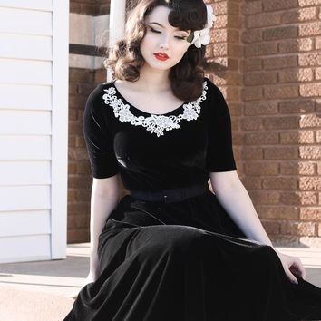 Black Velvet Swing Dress - Free Custom Sizing