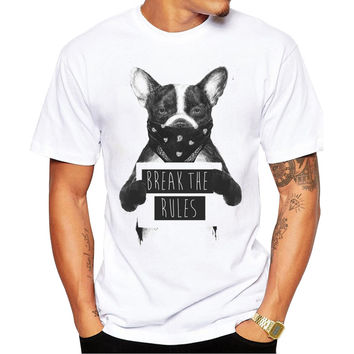 Rebel Dogs Break The Rules Mugshot Men's Short Sleeve Casual White T-Shirt