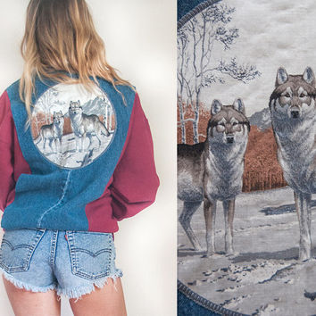 Southwestern Wolf Denim Jacket Sweatshirt | Unisex Mens S M or Womens M L XL Hipster Graphic Hoodie Jean Jacket Unique Maroon Biker Sweater