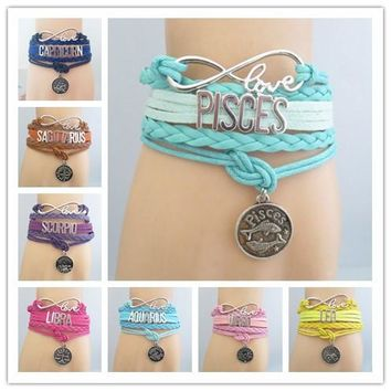 Infinity Love Zodiac Sign Bracelet